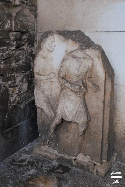 A stone statue.
