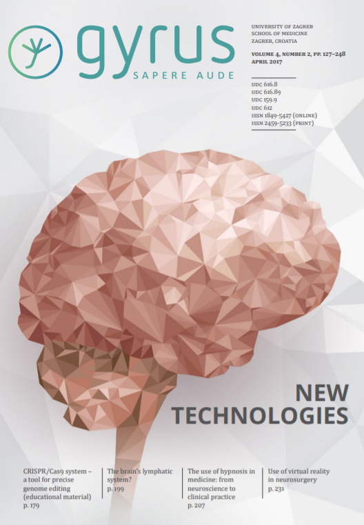 A cover photo of the Gyrus Journal; light pink stylized brain surrounded by Gyrus logo and topics